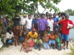 Climate Challenger crew posing for picture with Manus friends on Buka after a barbecue before departure.