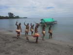 Climate Challenger crew entertaining crowd at Numanuma village in Wakunai District 1/10/12. pix Manoi Paliau